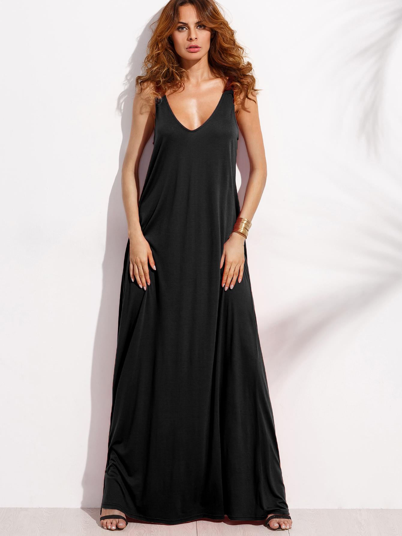 Double V-Cut Full Length Tank Dress full length tee dress