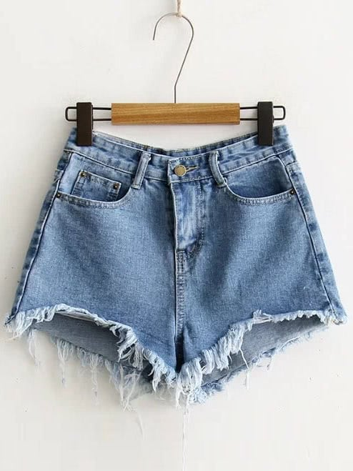 Blue Raw Hem Denim Shorts