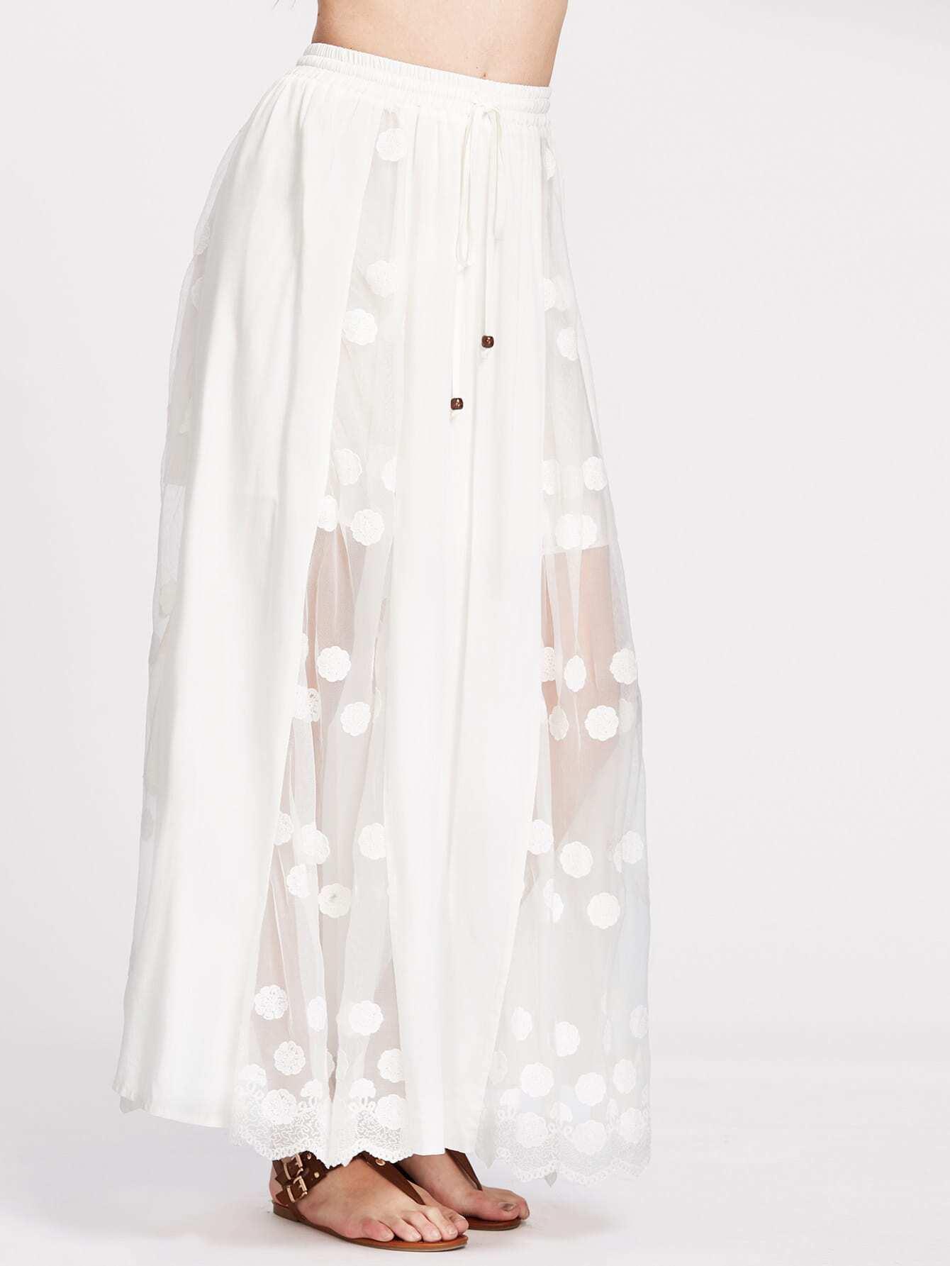 Фото Drawstring Smocked Waist Embroidered Mesh Paneled Skirt. Купить с доставкой
