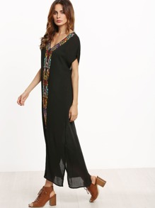 Black Placement Print Split Side Maxi Dress