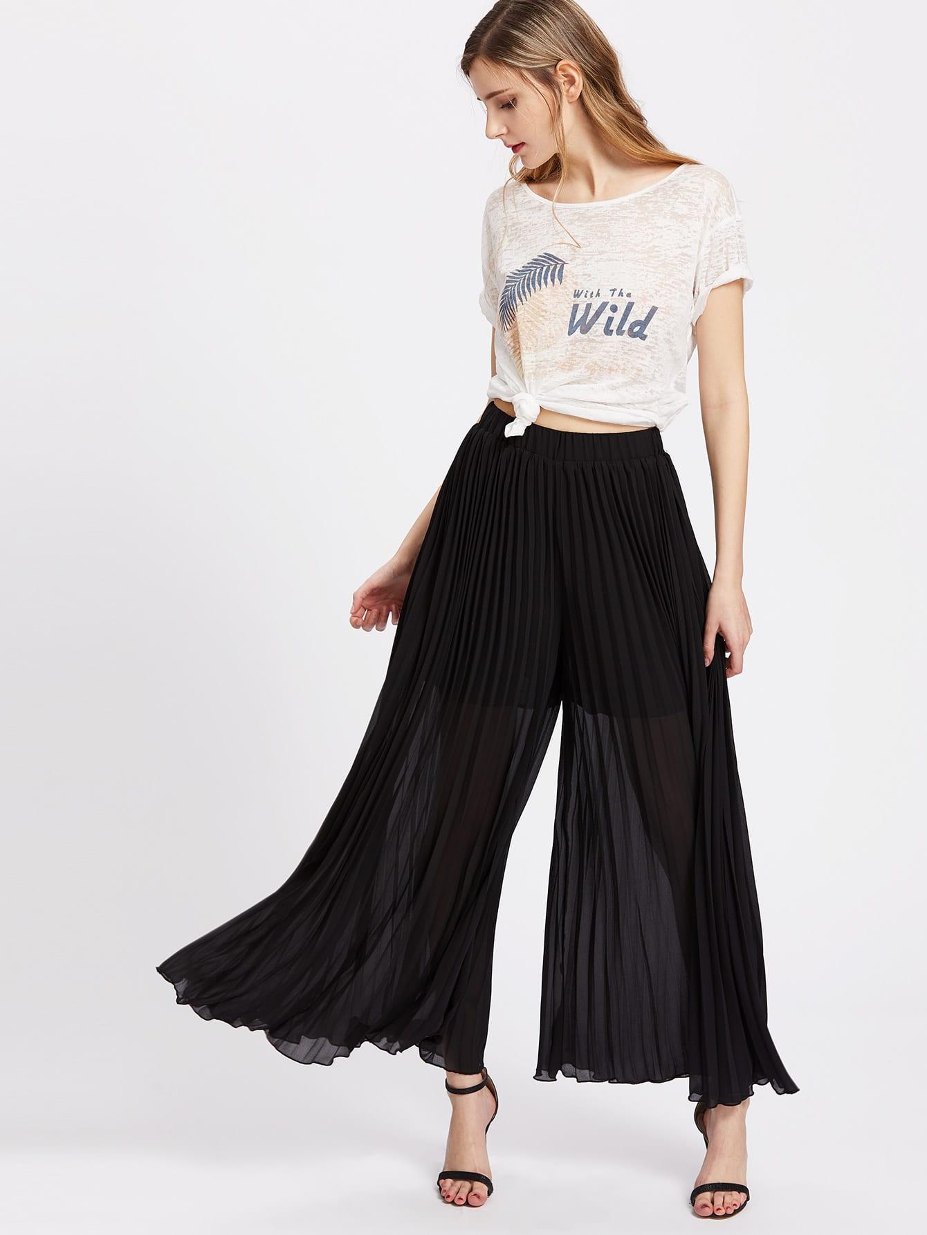 Фото Elastic Waist Pleated Culotte Pants. Купить с доставкой