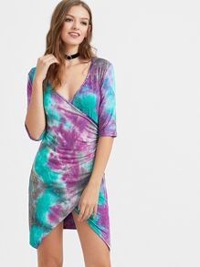 Tie Dye Deep V Neck Wrap Dress