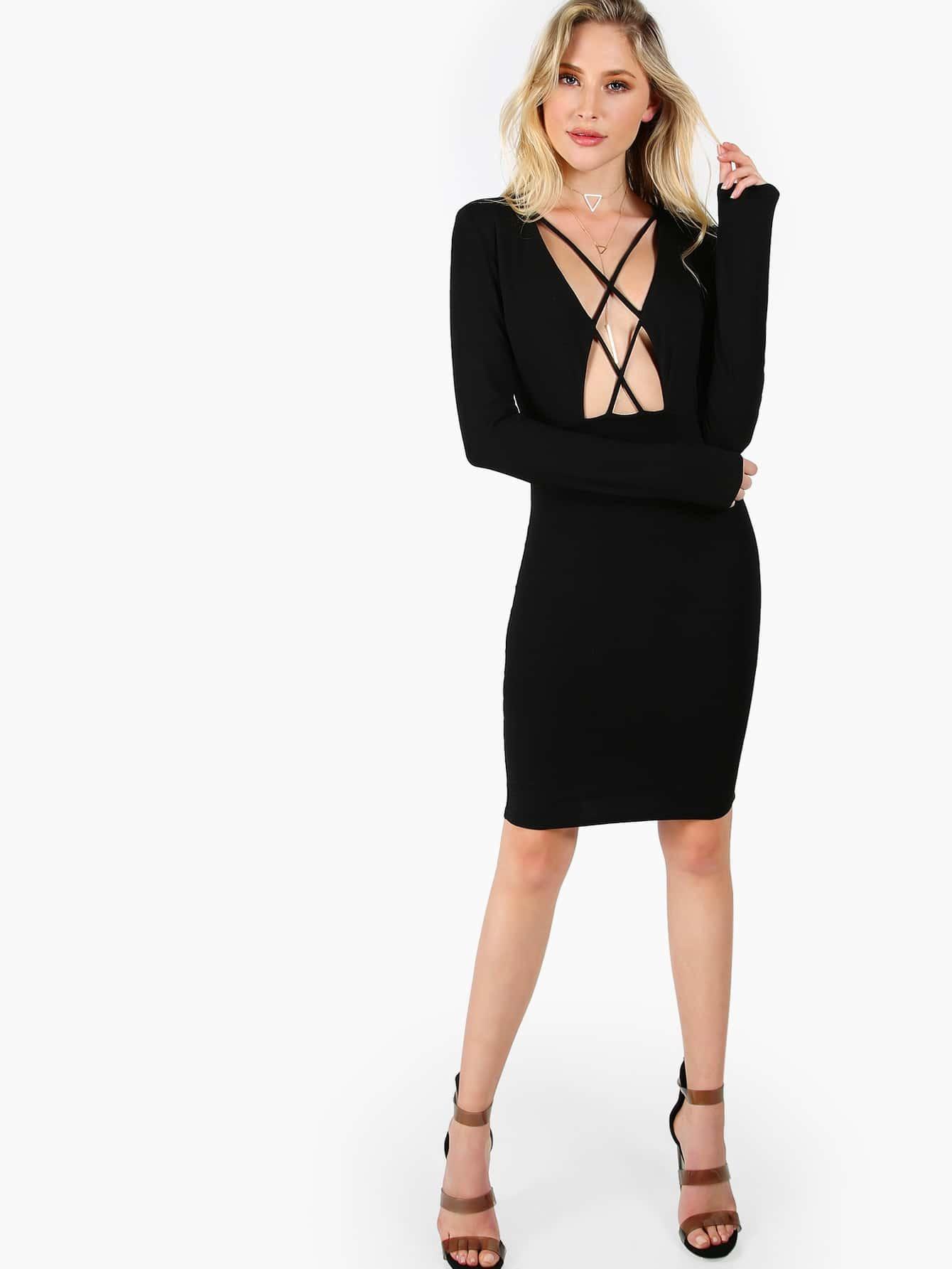 Crisscross Open Front Long Sleeve Sheath Dress dressmmc170317701