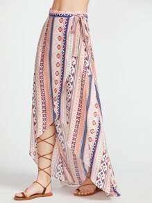 Falda cruzada asimétrica con estampado étnico - rosa