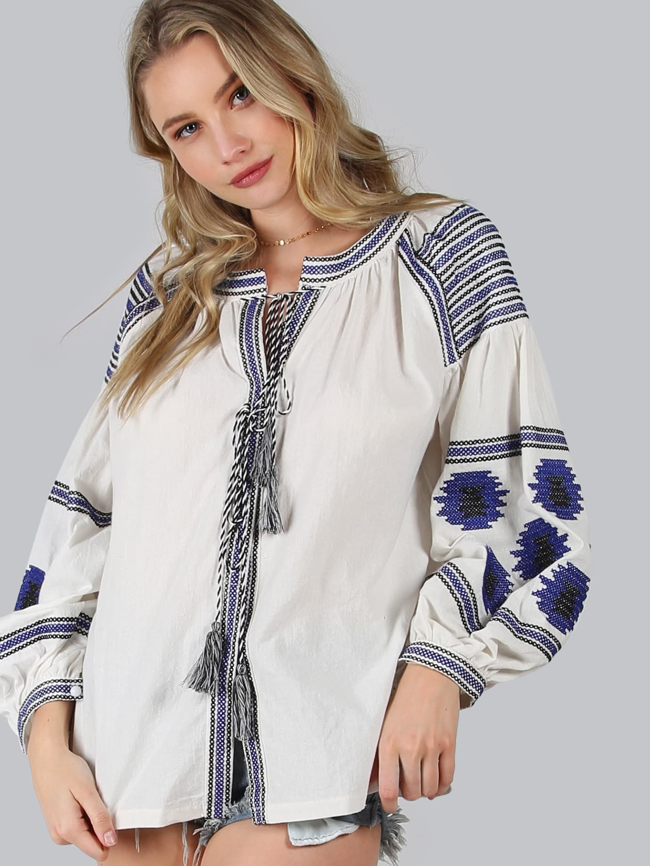 Фото Vitakin Embroidered Tassel Tie Lantern Sleeve Blouse. Купить с доставкой