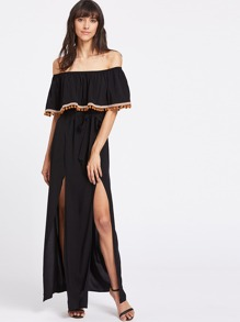 Pom Pom And Woven Tape Detail M Slit Ruffle Bardot Dress