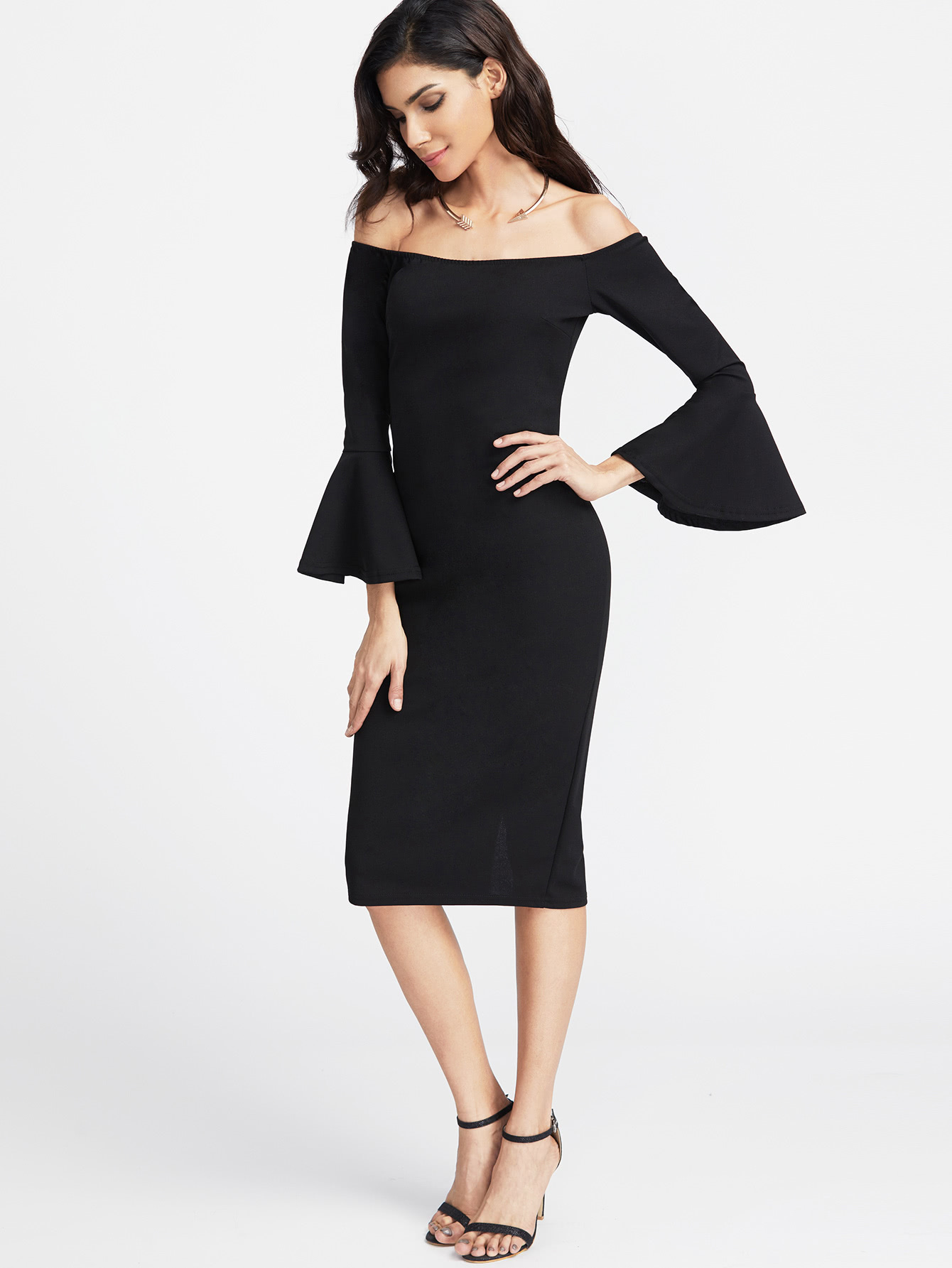 Fluted Sleeve Slit Back Bardot Pencil Dress hollow cut fluted sleeve bardot blouse