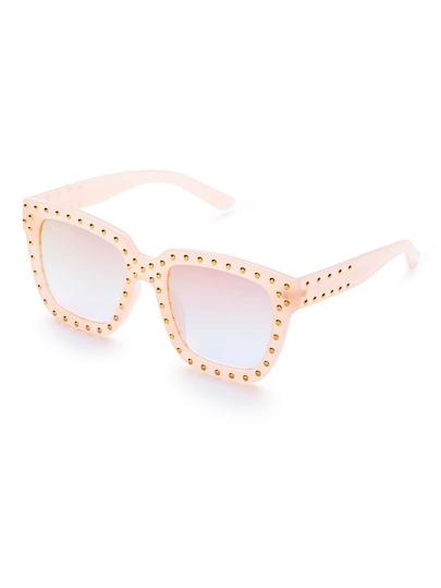 Pink Frame Square Design Sunglasses