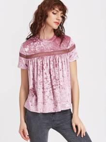 Purple Eyelet Crochet Insert Keyhole Back Velvet T-shirt pictures