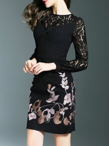 Black Flowers Embroidered Contrast Lace Dress