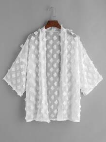 White Flower Applique Sheer Kimono