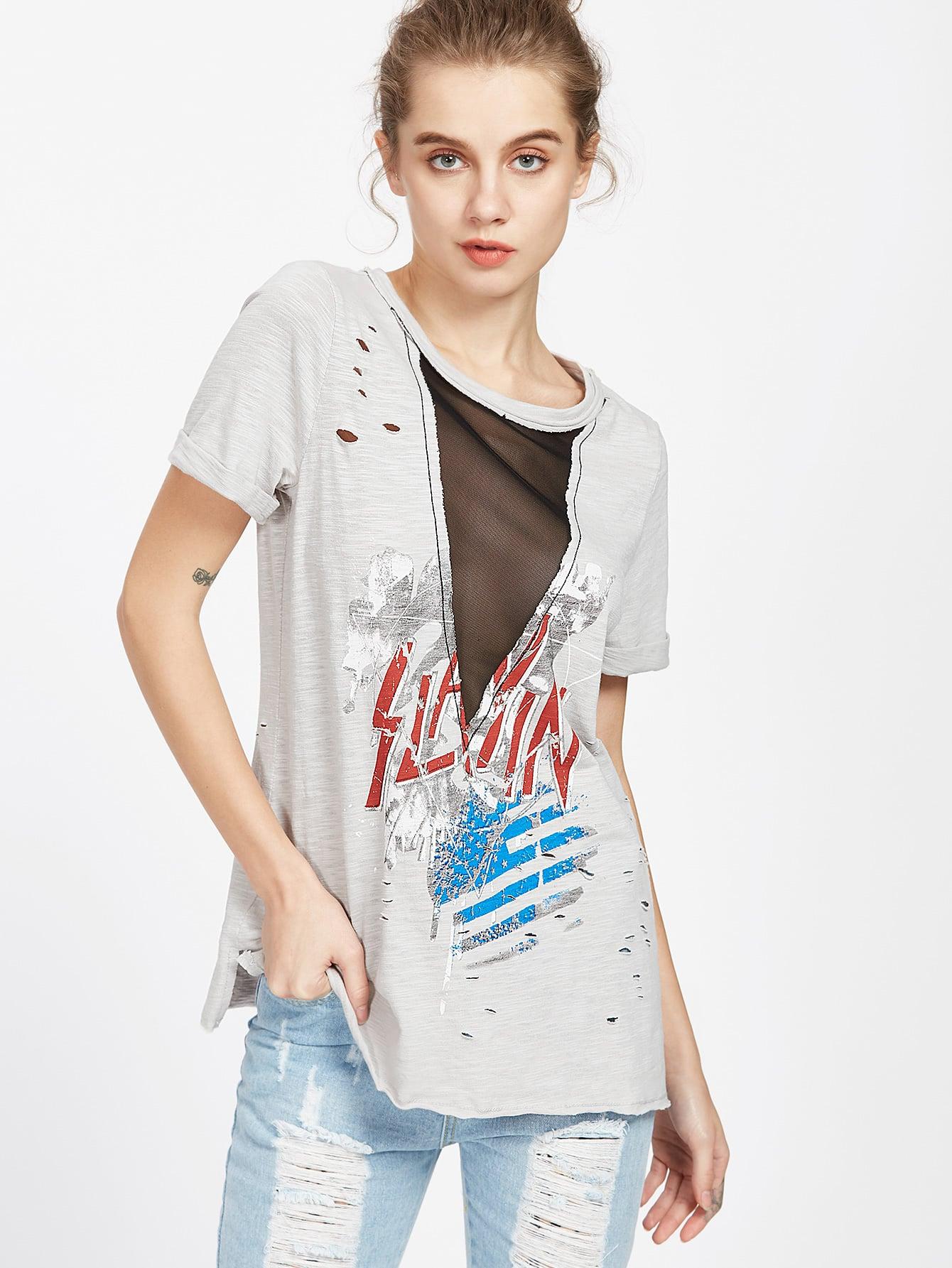 Фото Graphic Print V Mesh Insert Distressed Slub T-shirt. Купить с доставкой