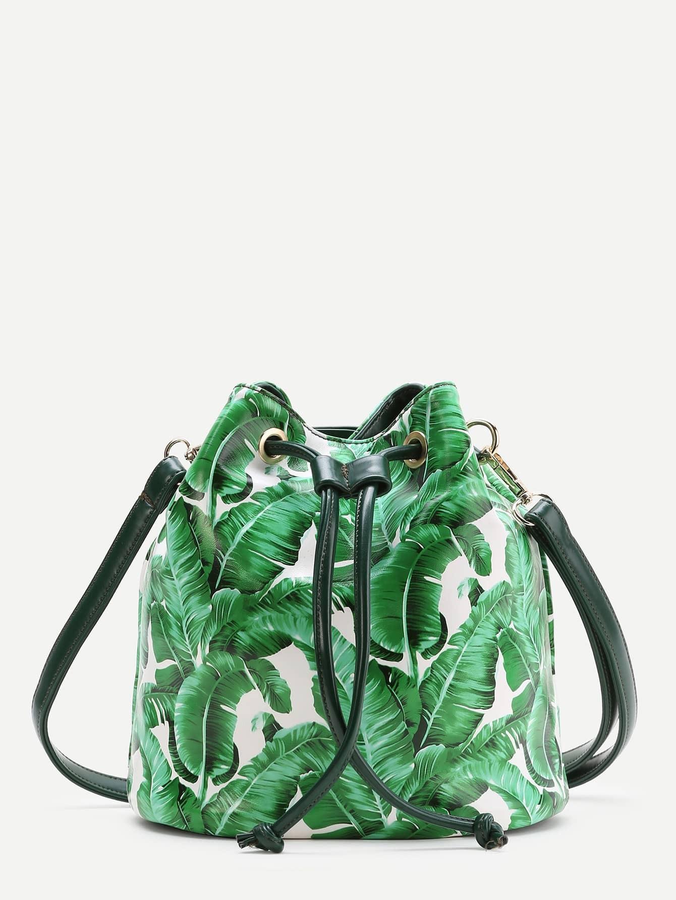 Фото Green Leaf Print Drawstring Bucket Bag. Купить с доставкой