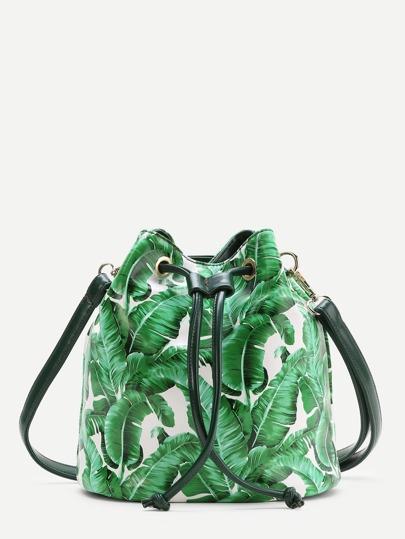 Зелёная модная сумка на кулиске с принтом листа
