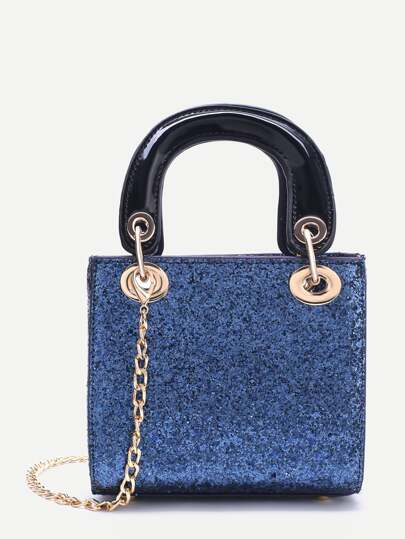 Blue Chain Detail Sequin Handbag With Double Handle