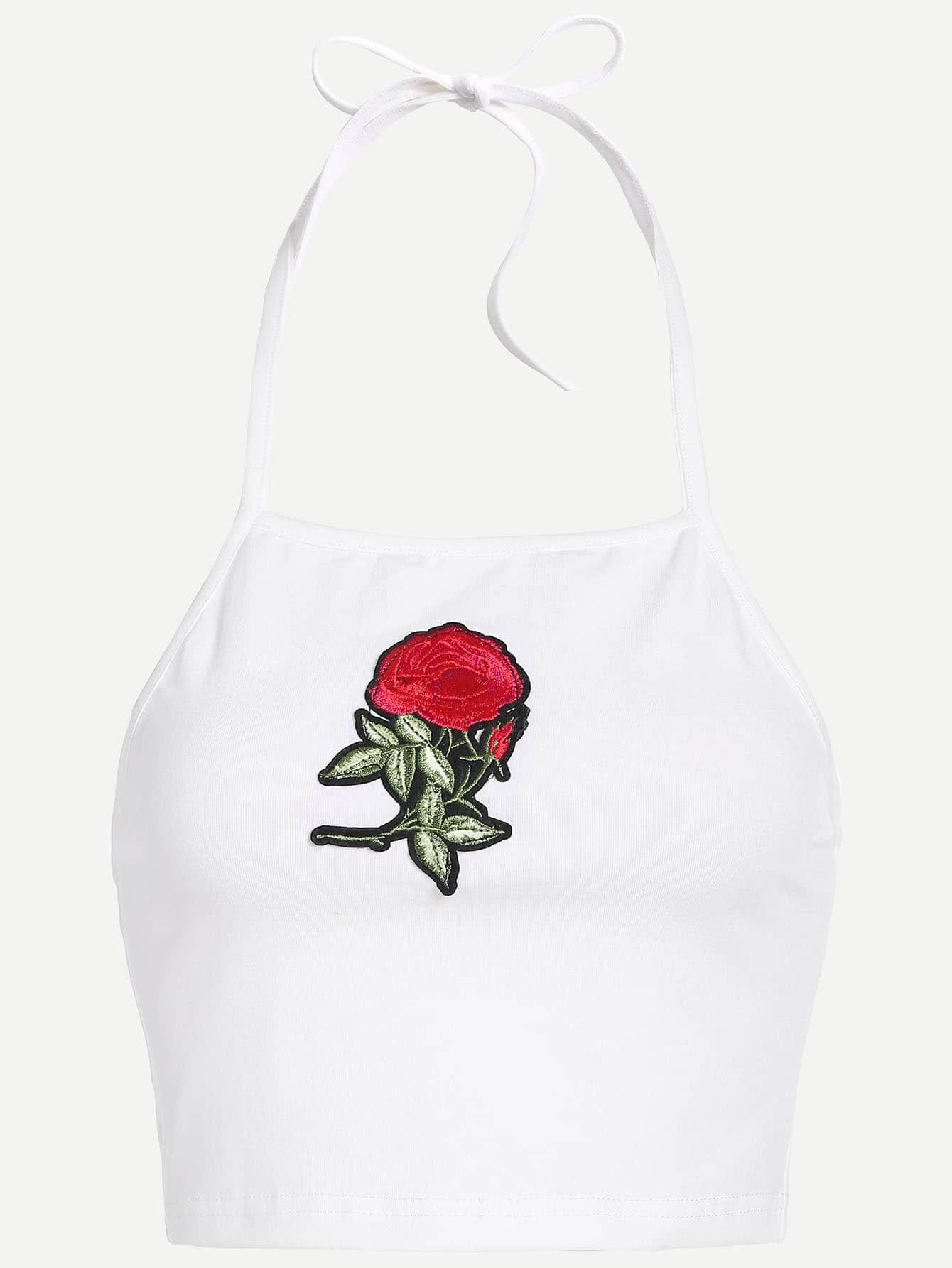 Halter Rose Embroidered Crop Top vest170309002