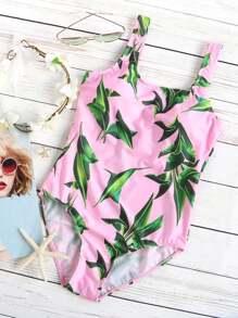 Bañador con estampado de hoja una pieza - rosa