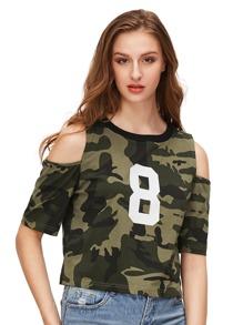 Camo Number Print Open Shoulder T-shirt