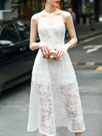 White Spaghetti Strap Mesh Lace Dress