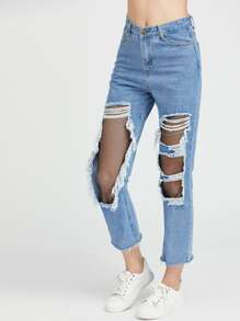 Blue Cut Out Ripped Contrast Fishnet Raw Hem Jeans