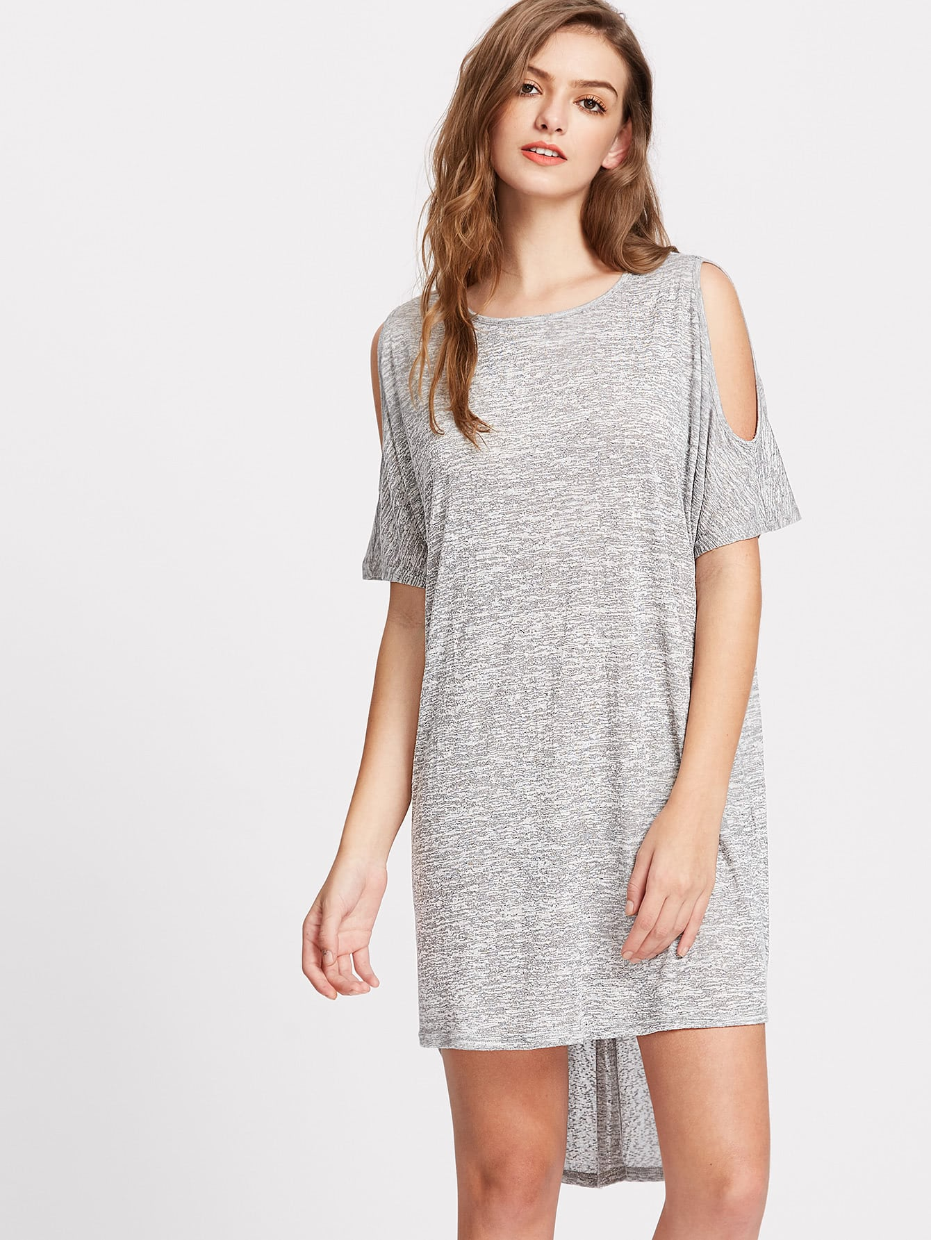 Фото Space Dye Open Shoulder Crossover Back Dip Hem Tee Dress. Купить с доставкой