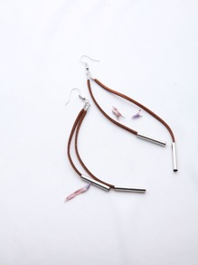 Brown Drop Earrings With Contrast Silver Bar