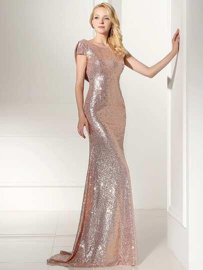 Vestido de dama de honor espalda abierta con lentejuelas - Shein kleidung ...