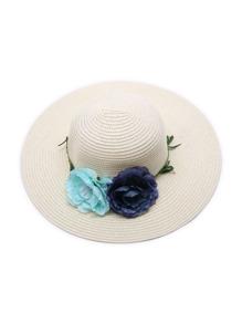 Chapeau de paille avec une fleur de couleur aléatoire - abricot