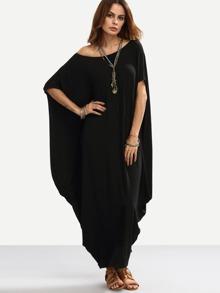 Чёрное макси платье на одно плечо. оригинальный дизайн