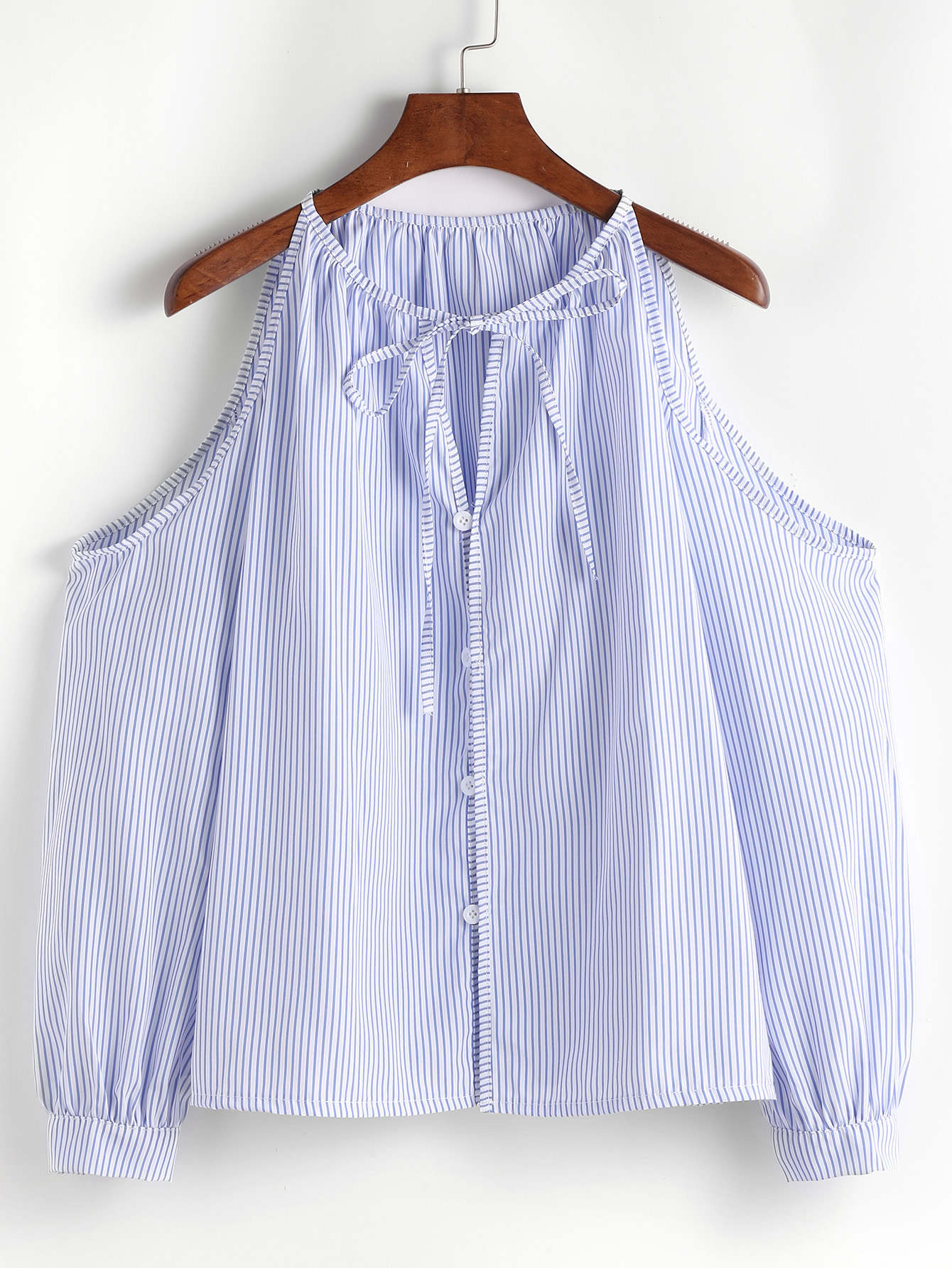 could shoulder pinstripe top