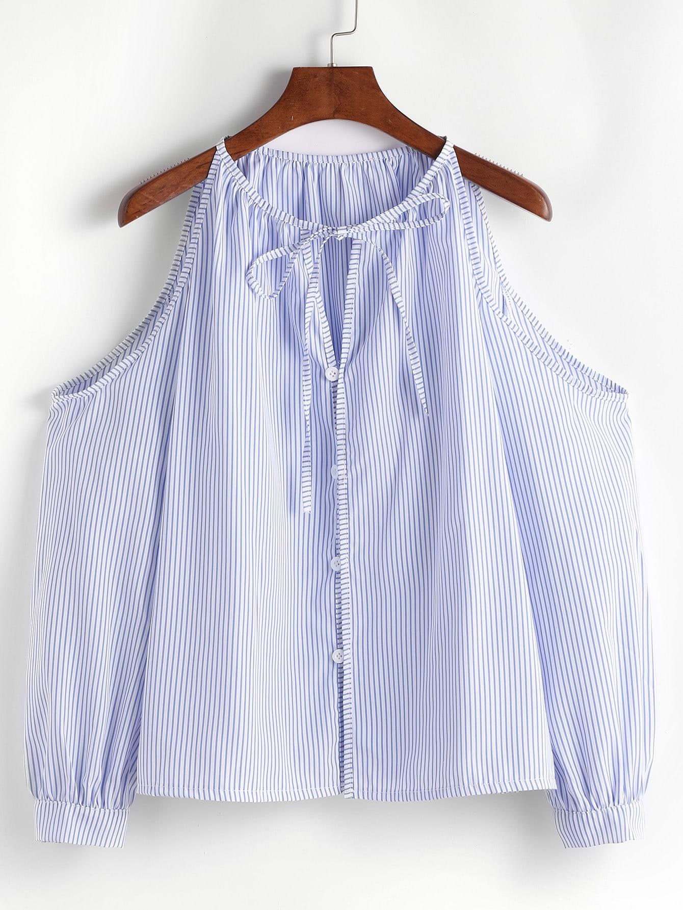 Vertical Pinstripe Cold Shoulder Tie Neck Top