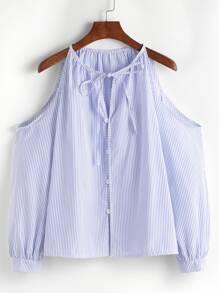 Blu a strisce verticale fredda spalla pulsante legame del collo del Top
