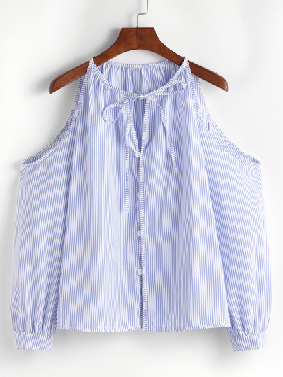 Vertical Pinstripe Cold Shoulder Tie Neck Top