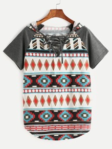 Multicolor Tribal Print Lace Up V Neck Raglan Sleeve Hooded T-shirt