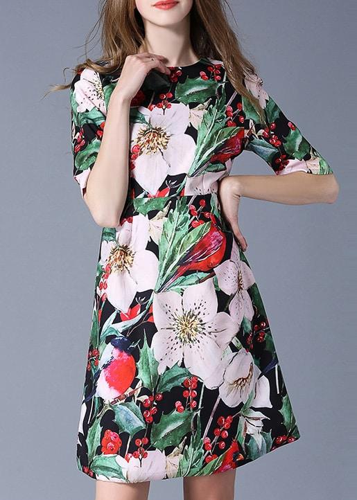 Фото Multicolor Flowers Print A-Line Dress. Купить с доставкой