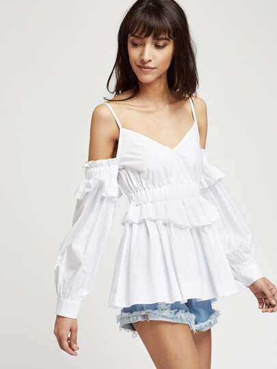 Ruffle Trim Cuff Sleeve Cold Shoulder Babydoll Top pictures