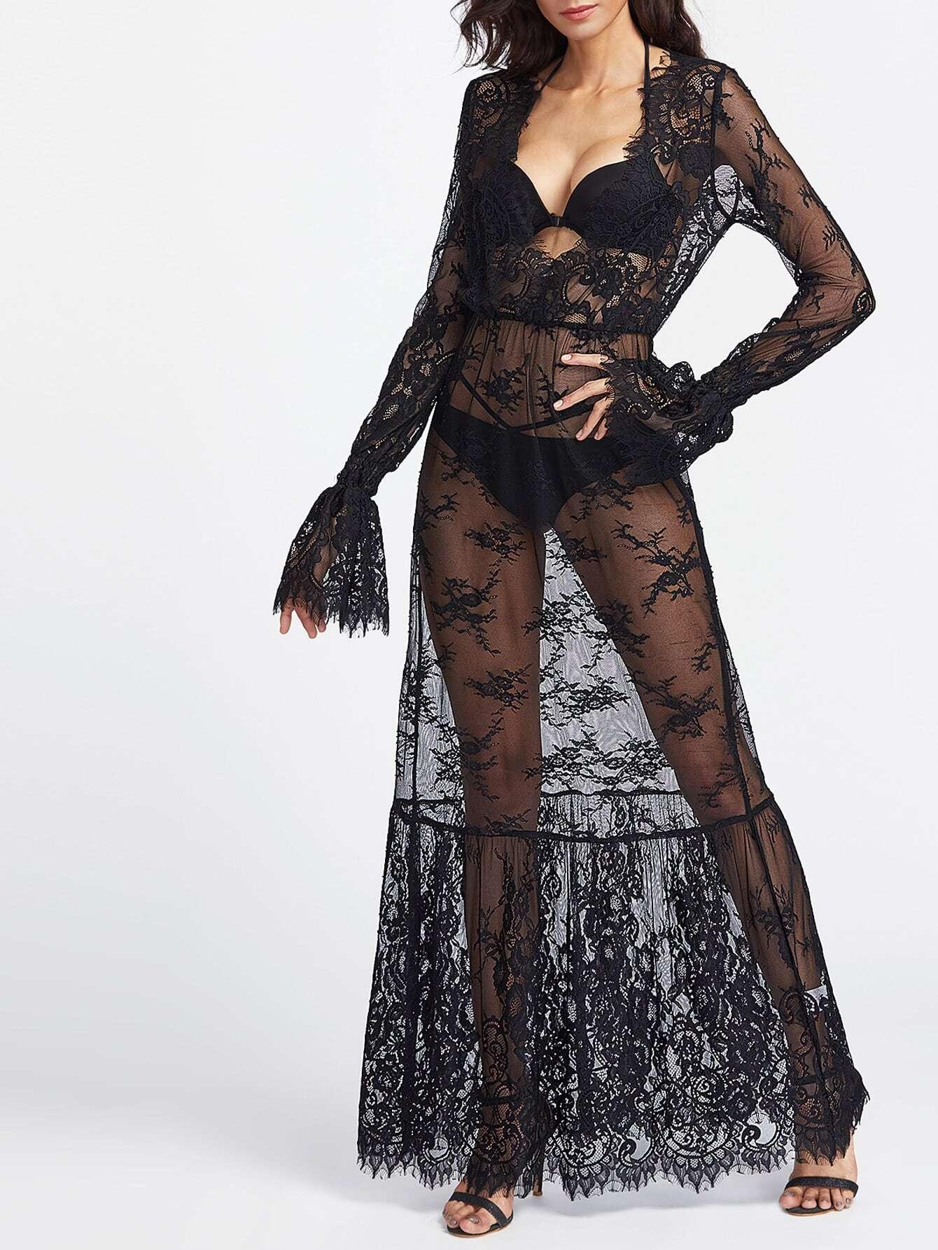 Фото Plunging V-Neckline Bell Cuff Sheer Lace Dress. Купить с доставкой
