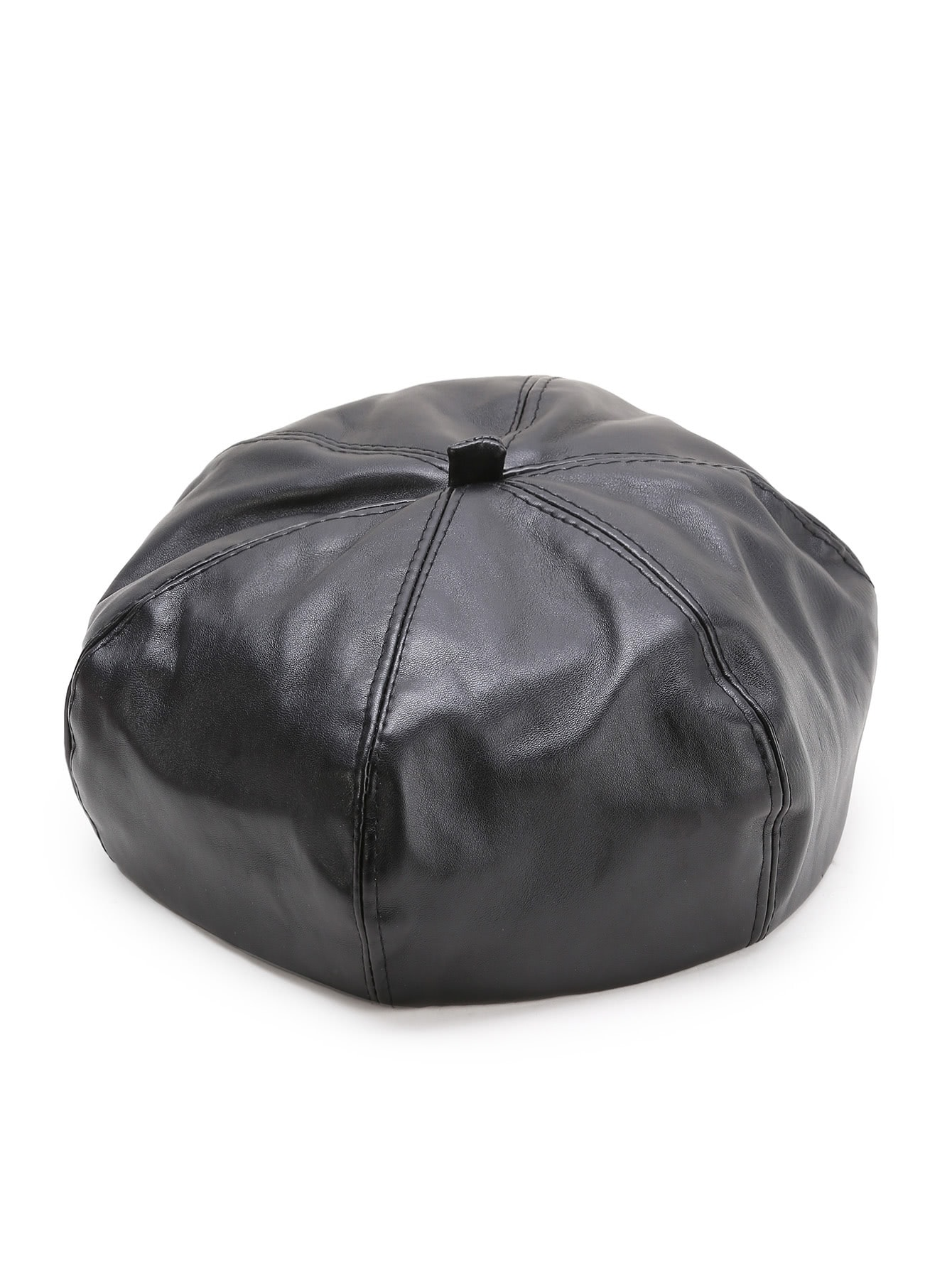 Black Faux Leather Beret