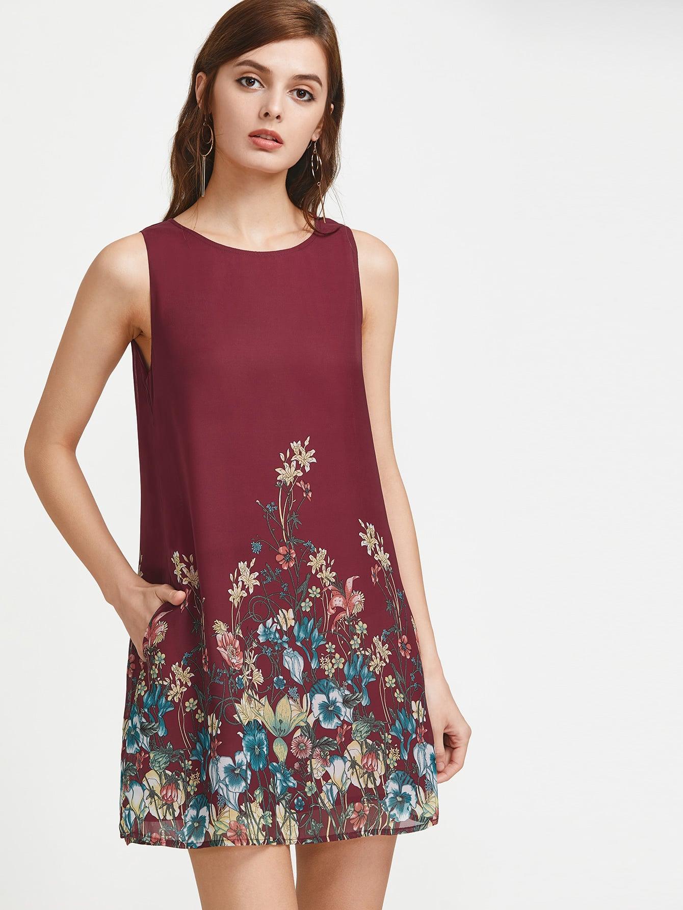 Фото Botanical Print Buttoned Keyhole Back Side Pocket Dress. Купить с доставкой