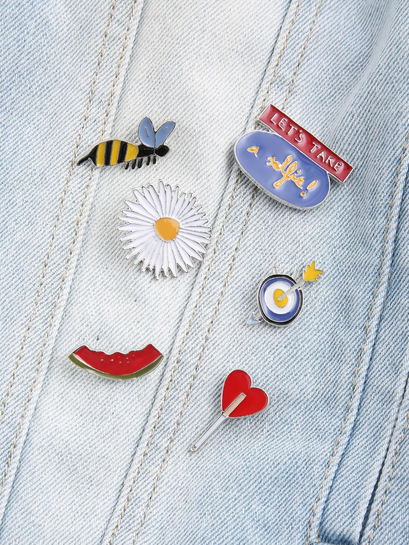 Фото Multicolor Cartoon Floral Brooch Set. Купить с доставкой