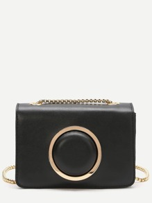 Black Ring Crossbody Bag With Chain