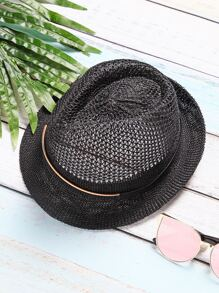 Black Vintage Mesh Wide Brim Hat