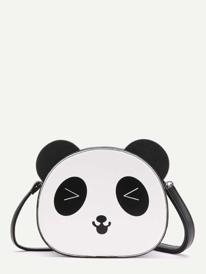 Bandolera en forma de panda - negro blanco