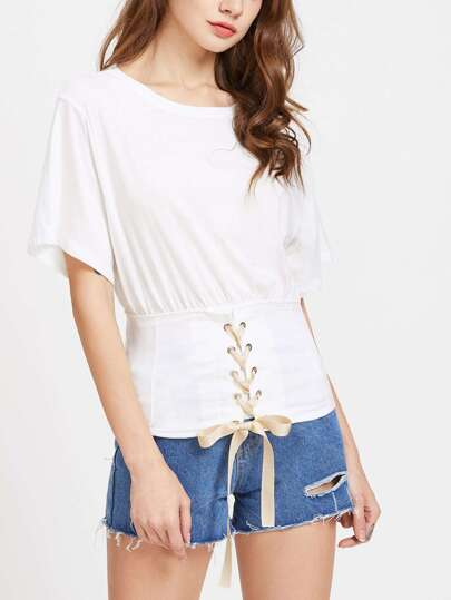 Weiß Taille Eyelet Lace Up T-Shirt