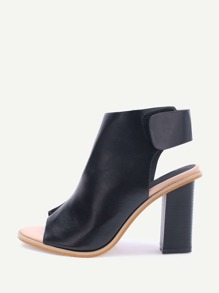 Black Peep Toe Sling Back High Heels