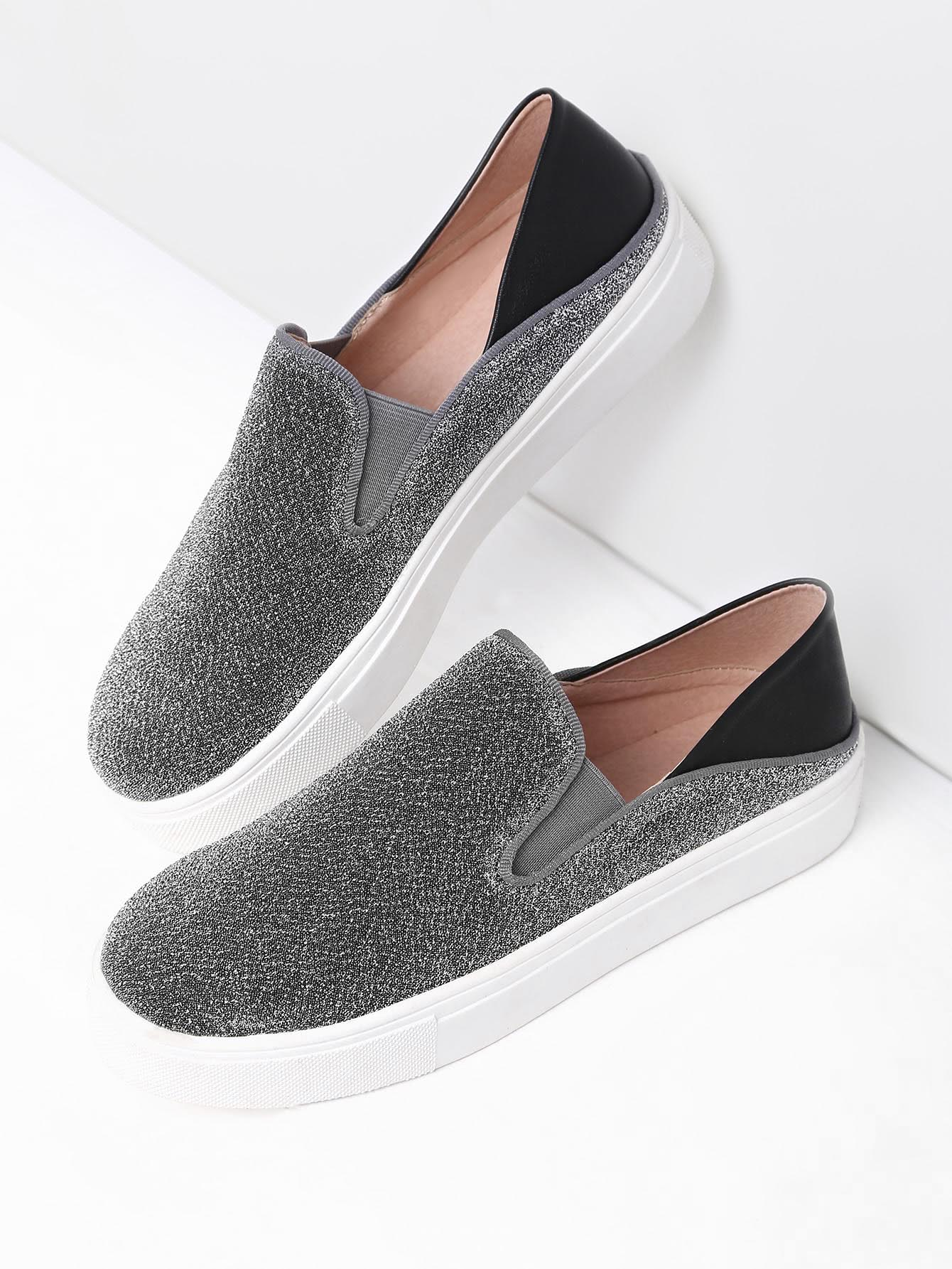 Фото Silver Round Toe Glitter Flatform Sneakers. Купить с доставкой