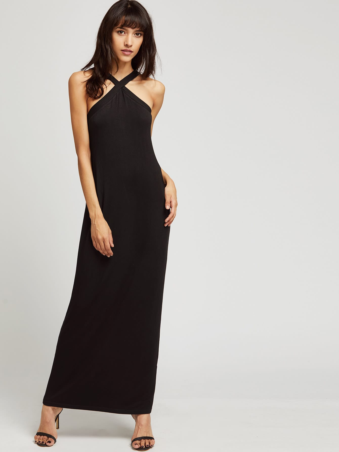 Фото Cross Over Neck Full Length Jersey Dress. Купить с доставкой