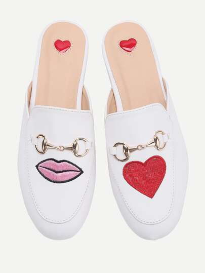 White Heart And Lip Embroidery Loafer Mules