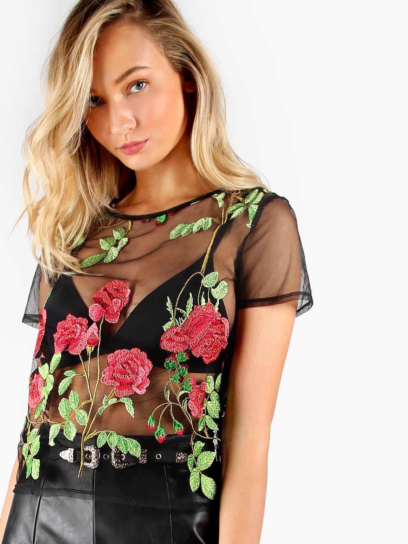 Rose Embroidered Sheer Mesh Top blousemmc170328701