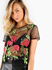 Rose Embroidered Sheer Mesh Top